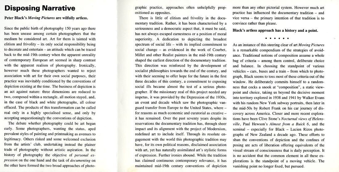 moving pictures catalogue peter black moving pictures catalogue 1990 from the wellington city art gallery essay by peter
